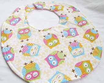 Baby Girl Bib - Sweet Owls - cotton bib with terry cloth backing