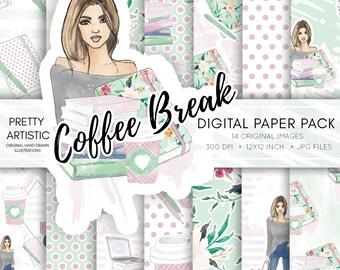 WATERCOLOR Planner Girl Digital Paper, Fashion Girl Scrapbook Paper, Study Girl Papers, Watercolor Digital Papers, Fashion Illustration