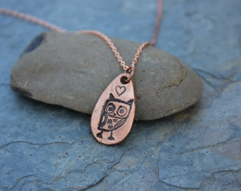 Ancient quirky owl and heart necklace - handmade copper teardrop pendant with owl & heart, solid copper chain - free shipping USA