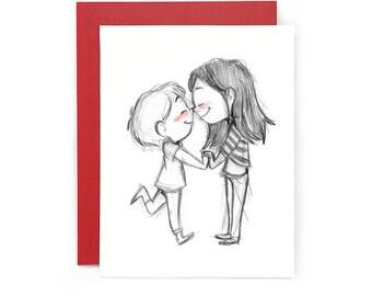 Eskimo Kiss Greeting Card - valentines day // anniversary // love // lesbian // gay // wedding