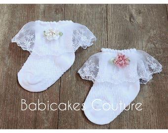 Baby Girl Socks, Lace Baby Socks, Fancy Lace Socks, Baby Socks, Couture Baby Socks, Newborn Socks, Baby Girl Dress Socks, Fancy Baby Socks