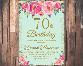 70th Birthday Invitation for Women Mint Gold Glitter Pink Peonies Floral Birthday Invitation Any Age 21st 30th 40th 50th 60th 80th 90th 1087
