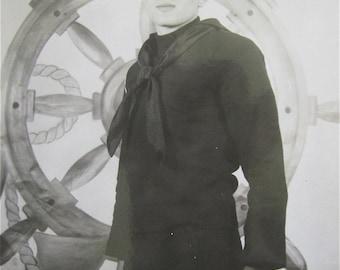I'm A Man Now - Korean War Era 1950's American Sailor RPPC Real Photo Postcard