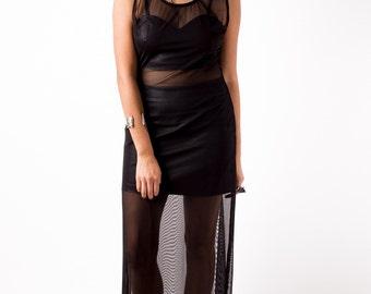 Sheer mesh maxi dress black