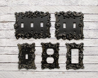 Light Switch Cover, In Victorian Black, Switch Cover, Lightswitch Cover, Light Switch Cover Plates,Shabby Chic,Custom Light Switch Cover