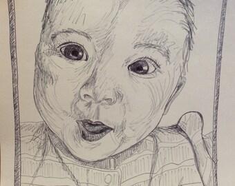 "custom 5""x7"" ink penned portrait"