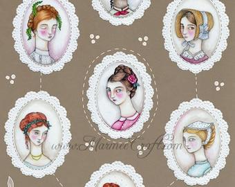 """MarmeeCraft Victorian girls art print, """"Septet"""""""
