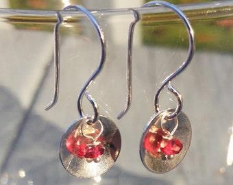 Garnet and Sterling Silver Saucer Earrings