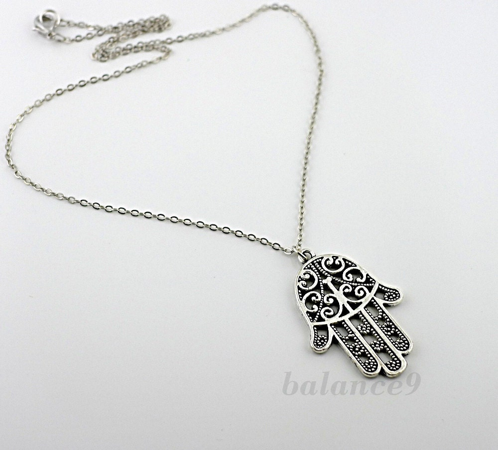 Hamsa necklace hand necklace amulet jewelry hand of fatima zoom mozeypictures Gallery