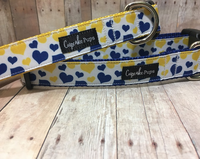 "The Chandra - Exclusive Blue & Yellow Hearts | Designer 1"" Width Dog Collar 