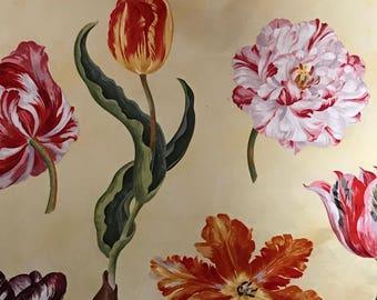 "Brunschwig & Fils Tulips Print Fabric ""New Amsterdam"" YELLOW,"