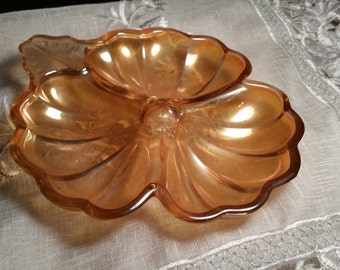 Jeannette Co Marigold Carnival Glass Clover Dish Vintage Iridescent 3 section Divided Serving Tray Condiment Trinket Holiday Servingware