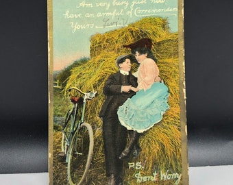 1907 ANTIQUE POSTCARD EPHEMERA paper collectible post card souvenir uncirculated divided back dont worry haystack bicycle bike newsboy hat