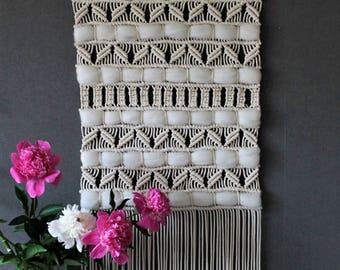 Large Macrame wall hanging on wooden dowel - Bohemian macrame wall Art - Boho Macrame home decor - Tapestry