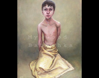 Figure Study, Original Painting, Boy with a Yellow Blanket, Human Figure, Child,