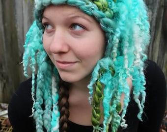 The Yeti - OOAK Freeform crocheted earflap hat with super long Teeswater locks