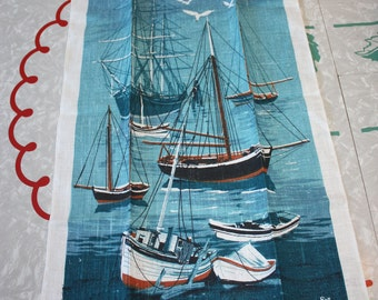 Beautiful Sailboats, Seagulls Linen Vintage Kitchen Towel, Kay Dee Designs