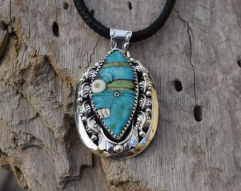 Aztec Pendant with Natural Turquoise Técpatl Handcarved set in .925 Sterling Silver .