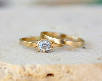 Engagement Ring, White Sapphire 14k Gold, yellow gold conflict free gemstone jewelry, Solitaire handmade, eco friendly recycled gold