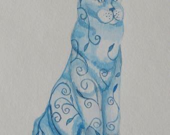 "Art Print, ""Cobalt Kitty"" Giclee Print"