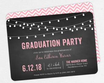 Graduation Invitation, Graduation Announcement, Printable Invitation, Invitation PDF, DIY, Printed, String Lights, Chalkboard, Pink, Luca