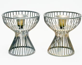 Warren Platner Era Modern Candle Stick Holders Mid Century Welded Steel - Knoll Era Furniture