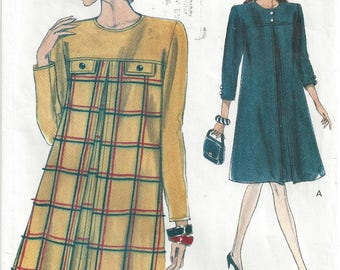 1990s Plus Size Maternity Dress Pattern 3/4 or Long Sleeves A Line Inverted Front Pleat Very Easy Vogue 8168 Size 20 22 24 Bust 42 44 46