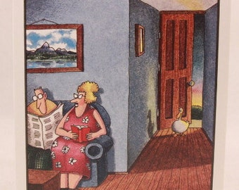 Vintage 1990 Gary Larson Far Side Greeting Card and Envelope. Earl and the Duck