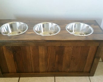 Raised dog feeder with storage, 3 bowl dog feeder, pet feeder, western feeder, elevated feeder, three bowl, dog feeder, large dogs