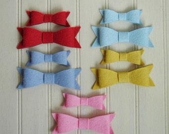 Wool Felt Bows - Spring Fling Collection Preppy Bows - Set 10