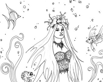 Siren Song - Coloring Page Digital Download