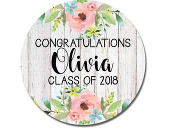 Graduation Stickers, Floral Graduation Favor Stickers, Class of 2018 Grad Stickers, Flowers, Preppy, Whitewood