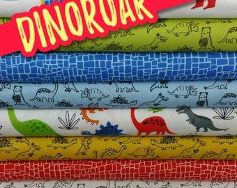 Bright Dinoroar Bundle from Robert Kaufman (8 Fabrics plus a Panel)