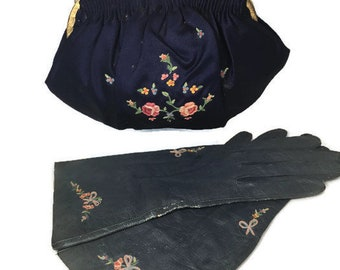 Vintage Navy Blue Purse and Gloves, 1920s French Hand Made, Silk Embroidered purse and kid gloves, Prom Purse, Evening Bag, Collectible