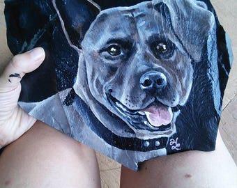 Custom Pet Portrait on a Slate Rock