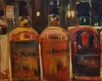 Original oil painting whisky business liquor bottles bar scene warmth oranges reds home decor 16x16inches