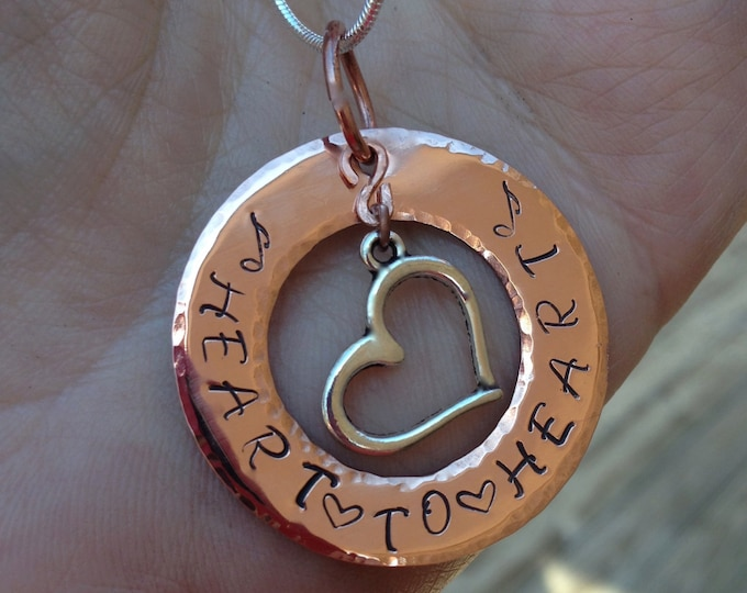 Heart to Heart Hand-stamped and Hammered Copper Pendant Necklace with Heart Charm OOAK