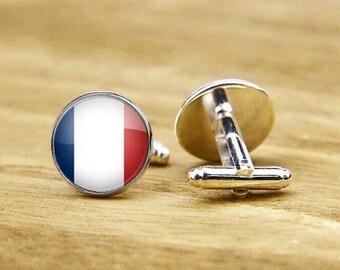 Custam cufflinks, flag of france cufflinks, custom national flag cufflinks, French Flag cufflinks, round square cufflinks, tie clip or set