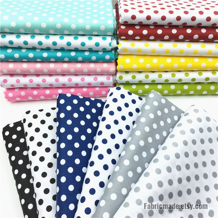 18 Colors Polka Dots Cotton Fabric Green Blue Pink Black