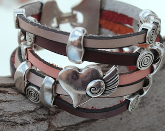 wide Leather Bracelet with heart