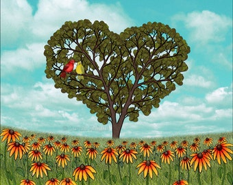summer love - signed fine art print 8X10 inches by Sarah Knight, tanagers birds heart shaped leaves trees rudbeckia flowers red aqua green