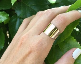 Gold tube ring, Statement ring, Cuff ring, Wide band ring, Adjustable ring, Silver ring, Gold ring, Fashion accessories