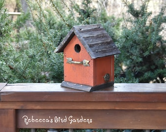 Orange Rustic Birdhouse ~ The Cabin - Unique Birdhouse - Wooden Birdhouse - Outdoor Birdhouse - Rustic Birdhouses - Painted Birdhouse