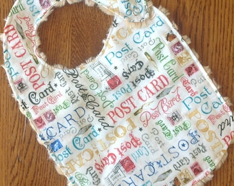 ANNUAL BIB Sale - Post Card Minky Baby/Toddler Bib - Until the End of April