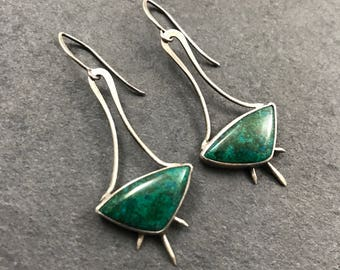 Spiked Chrysocolla Earrings with sterling silver by Emily Percival