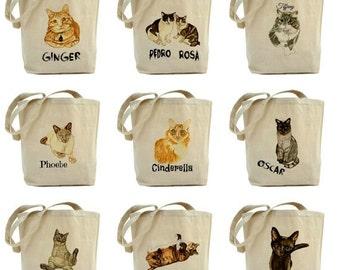 Custom cat portrait tote bag. Watercolor cat painting. Personalized cat tote. Gift for cat-ladies.Custom Cat Art. Pet Memorial Tote bag.