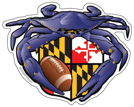 Ravens crab football sticker with maryland flag crest