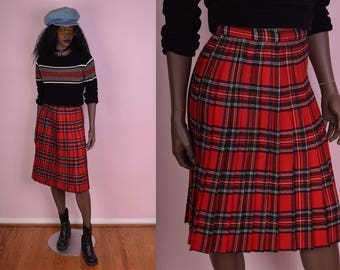 VTG Plaid High Waisted Pleated Skirt/ 24 Waist/ Tartan