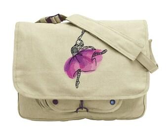 Painted Dancer Embroidered Canvas Messenger Bag