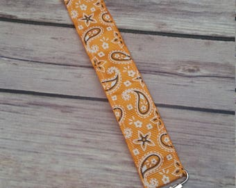 Paci Clip - Orange Paisley Print